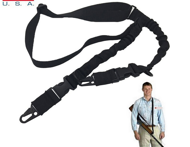 Military Two Point Bungee Rifle Gun Sling Adjustable Bungee Tactical Airsoft Gun Strap Paintball Gun Sling for Hunting