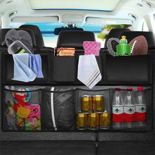 Car Rear Seat Back Storage Bag Multi Hanging Nets Pocket Trunk Bag Organizer Auto Stowing Tidying