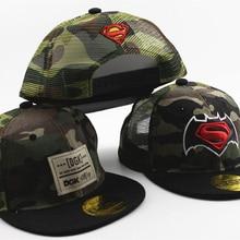 Камуфляжная кепка Капитан Америка Спайдермен, Супермен, Бэтмен, детские летние сетчатые бейсболки для мальчиков и девочек, хип-хоп шляпа, вечерние принадлежности
