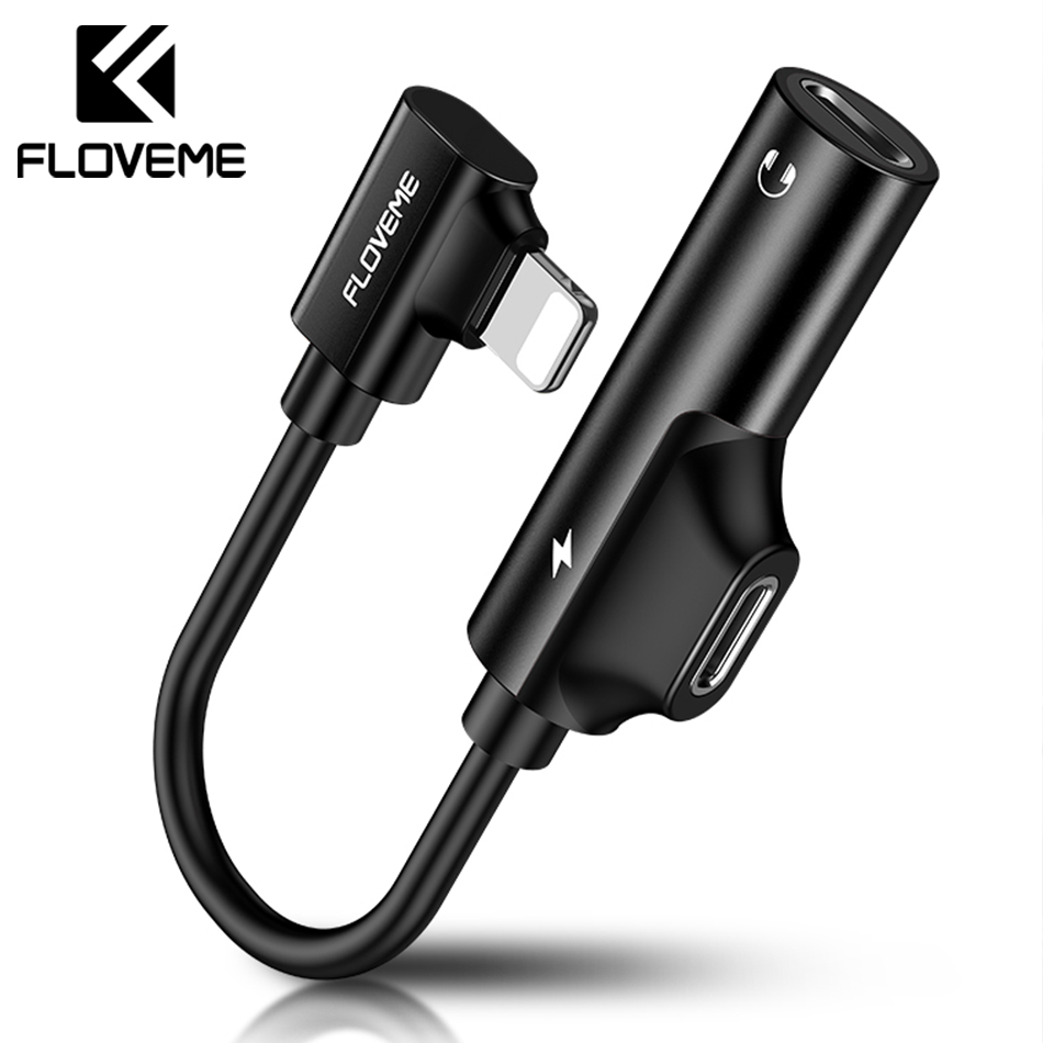 FLOVEME 2 in 1 Audio Adapter For iPhone XS MAX XR X 7 8 Plus Charging Audio Charger Adapter Lighting Jack To Earphone Splitter Наушники