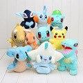 11-18cm Cute Plush Toys Pikachu Bulbasaur Jirachi Squirtle Totodile Dragonite Charmander Lapras Lugia Mudkip Poke Dolls