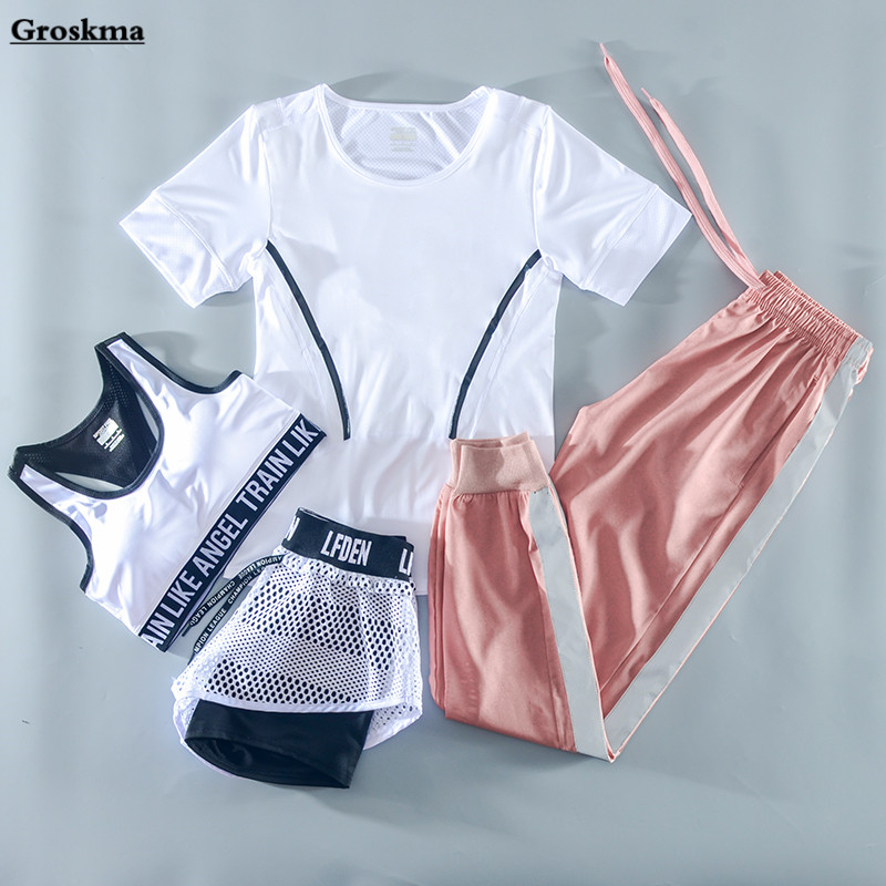 2019 Summer Women Sports Running 4 Piece Set Quick Dry T Shirt+bra+mesh Shorts+pants Fitness Gym Yoga Suit Clothing Workout