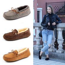 Lightweight and comfortable warm straps winter womens shoes flat with suede Sheepskin wool Boat Shoes