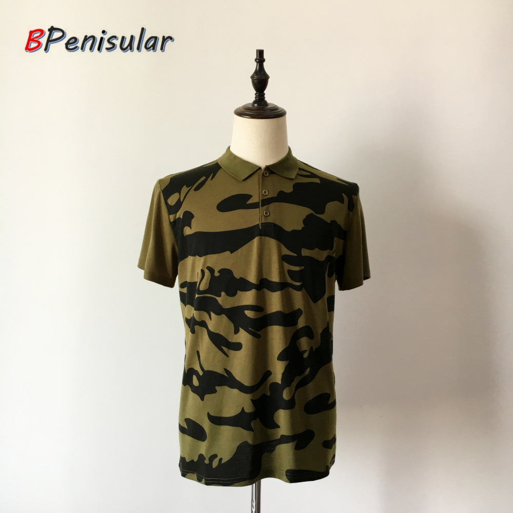 2018 Summer Brand Men Short Seeve Polo Shirts Camouflage Print Three Button Loose Army Green Cargo Gear Clothing for Men Casual