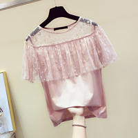 Sexy Mesh Lace Stitching Short sleeved T shirt Woman 2019 New Summer Perspective Shoulder T Shirt Female Tees Students T shirts