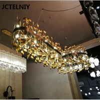 New luxury copper LED chandelier stainless steel living room chandelier dining chandelier high end club lamp