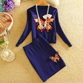 Women Knitting Two Piece Sets Lady Office Knitted Sweater Appliques Butterfly Tops+Mini Pencil Skirts Elegant Cute 2 Pieces Sets