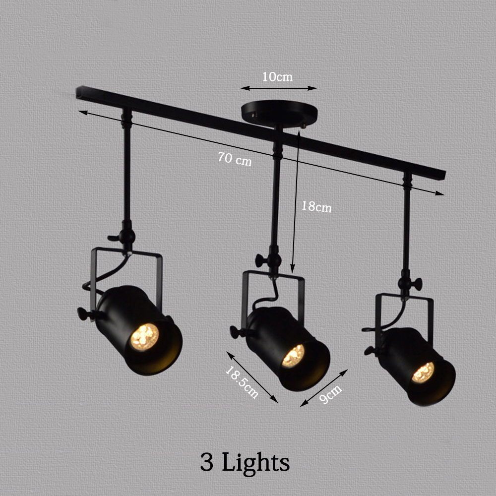 New Black Loft Industrial Pendant Lights Lamp Led Track Lights - Black kitchen spotlights