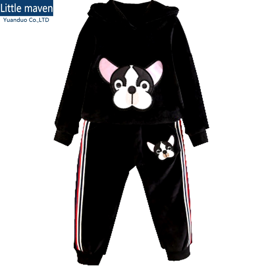 Spring winter suits girls Cartoon suits for girls Long Sleeve Hoodies + Trousers 2pcs black Sweatshirts+Pants Sets kids Clothing