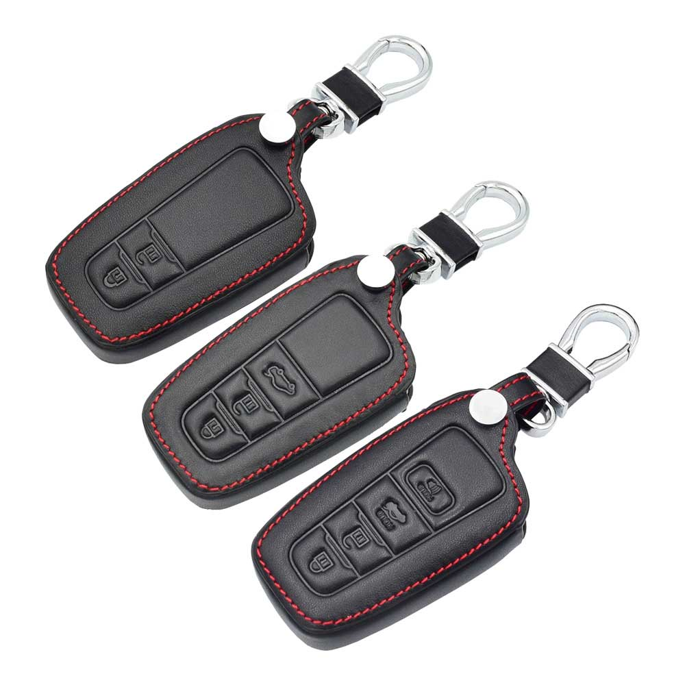 Leather Car Key Case Smart Remote Fob Protect Cover Keychain For Toyota C-HR CHR 2017 2018 2019 Camry Prius Prado Auto AccessoryLeather Car Key Case Smart Remote Fob Protect Cover Keychain For Toyota C-HR CHR 2017 2018 2019 Camry Prius Prado Auto Accessory