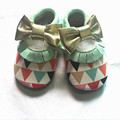 Wholesale price Genuine Leather Baby moccasins Tassel Bow print Baby shoes girls and boyTriangle First Walkers Infant Shoes