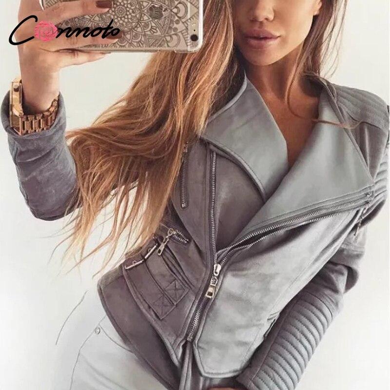 Conmoto Solid Gray Short Jacket Coat Autumn Winter Women Jacket Turn Down Collar High Street Fashion