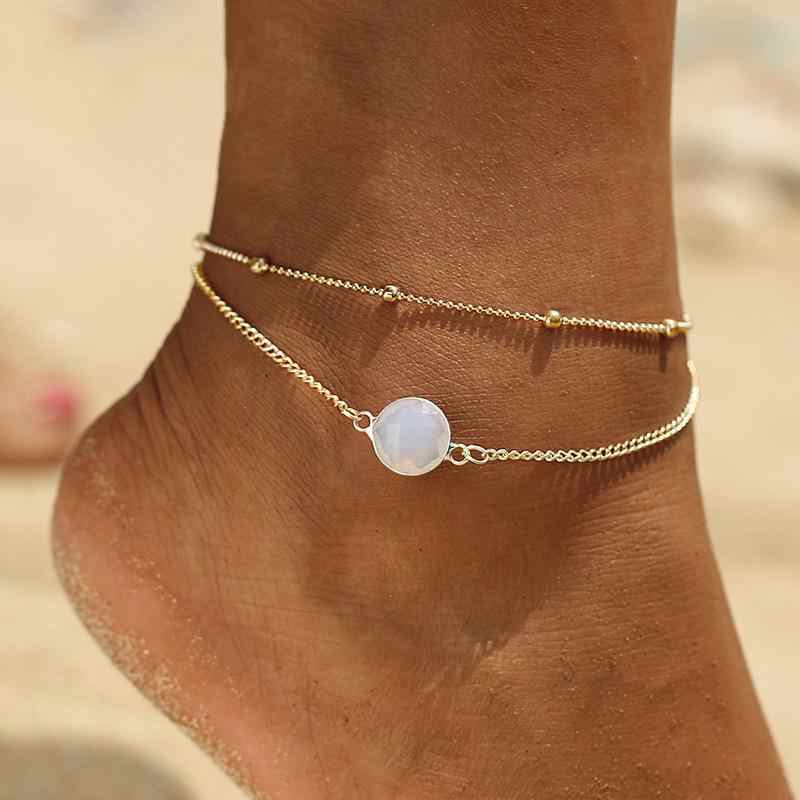 2018 Boho Opal Female Anklets Barefoot Crochet Sandals Foot Jewelry Leg New Anklets On Foot Ankle Bracelets For Women