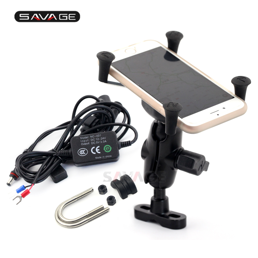 Phone Navigation Bracket With USB Charge Port For <font><b>YAMAHA</b></font> <font><b>FZ6N</b></font> FZ6S FAZER FZ-S1000 FZ-1 FZ-8 XJ6 Phone Holder Motor <font><b>Accessories</b></font> image