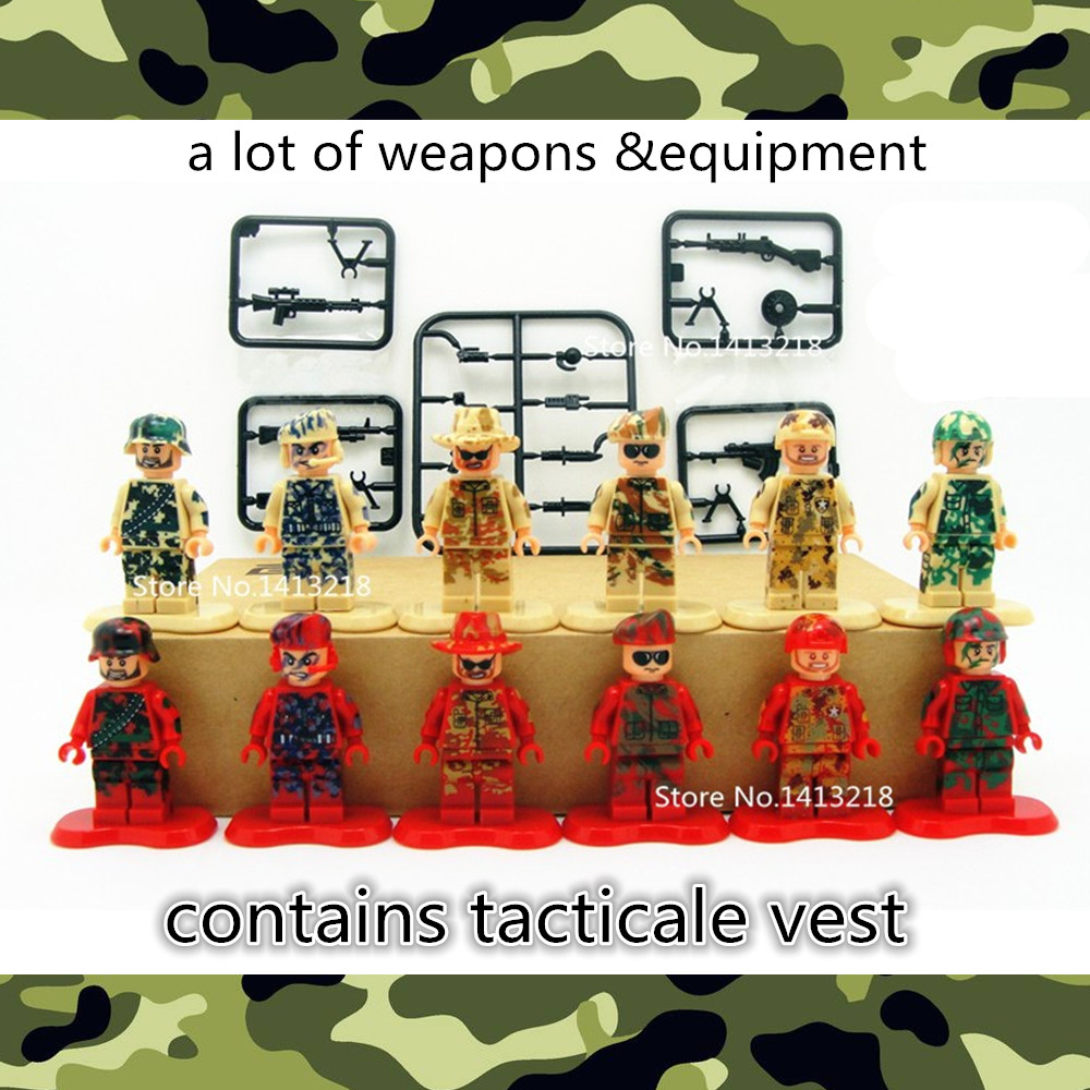 Camouflage Coat Special Forces Battle Army SWAT CS World War BDU Military Building Blocks Brick Figure Boy Toy Children Gift