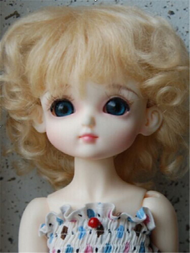 1/6 doll wig Lati yellow BJD doll wig Lovely Mohair Wigs  Baby wave wig for Porcelain doll   play doll