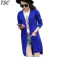 YUNSHUCLOSET 2020 sale fashion high quality cashmere long cardigan women v Collar new design genuine goods low price Solid color