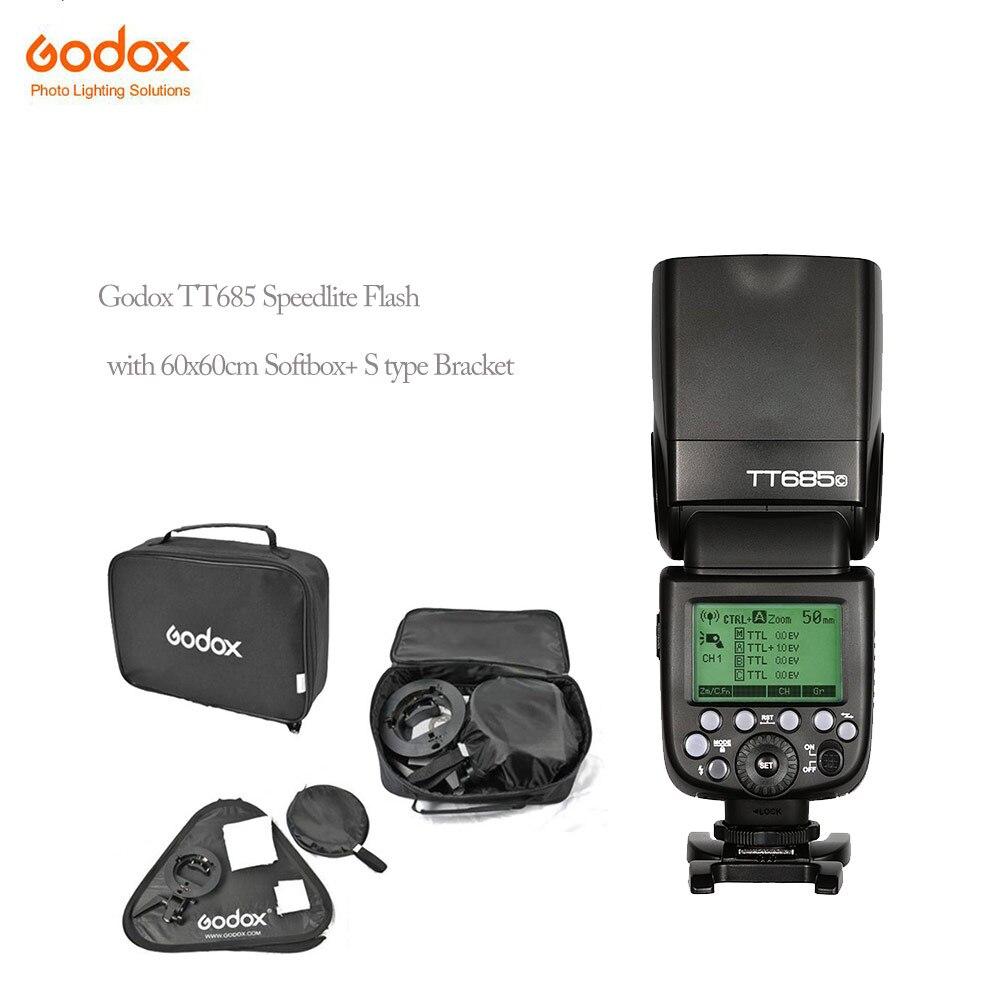 Godox tt685C photographic Speedlite Cameras Flash+60x60cm Flash Soft Box Kit +S-Type Bracket Bowen Mount Holder софтбокс phottix deluxe kit 60x60cm 82532