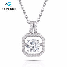 DovEggs 14K White Gold 1.34CTW 6.5mm GH Near Colorless Moissanite Flaoting Pendant Necklaces with Accents for Women