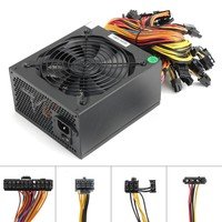 1600W ATX Machine Modular Power Supply For Eth Rig Ethereum Coin Miner Mining Supports 6 Graphics