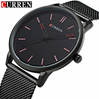 Top Luxury Brand CURREN Watches Men Stainless Steel Mesh Strap Quartz Watch Ultra Thin Dial Clock