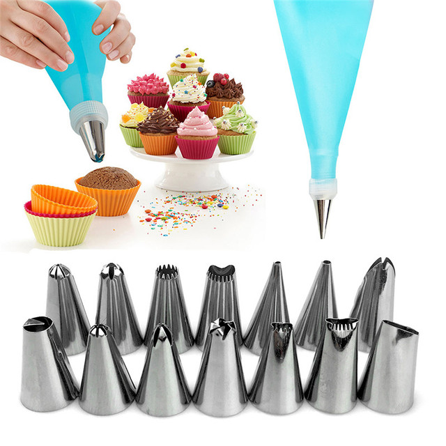 16PCS/Set Homdox Nozzles Icing Piping Cream Pastry Bag Stainless Steel Nozzle Cake Decorating Tools Kitchen Baking Accessories