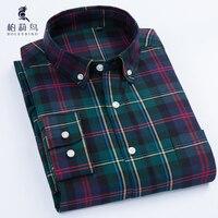 Boleebird Для мужчин; длинный рукав; пуговицы Пух Оксфорд Платье рубашка с левый нагрудный карман 100% хлопок Slim-Fit Solid/плед /Рубашка в полоску