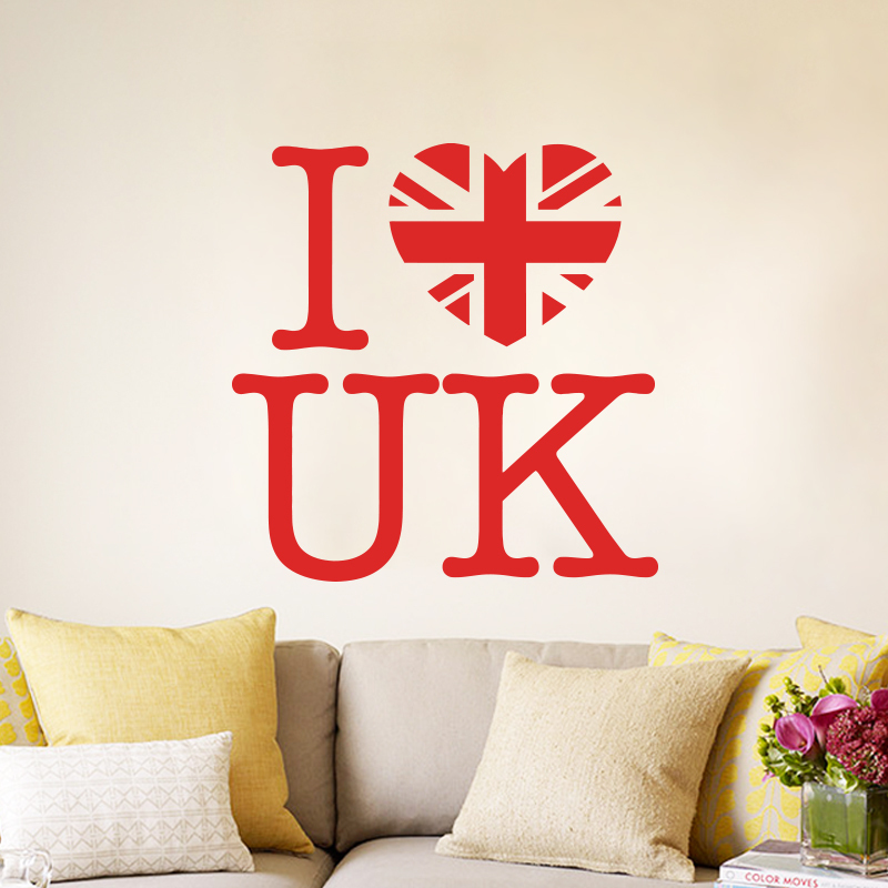 art design cheap home decoration pvc i love uk wall sticker