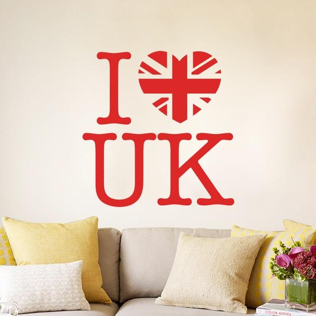 Art design cheap home decoration pvc i love uk wall sticker waterproof vinyl house decor words