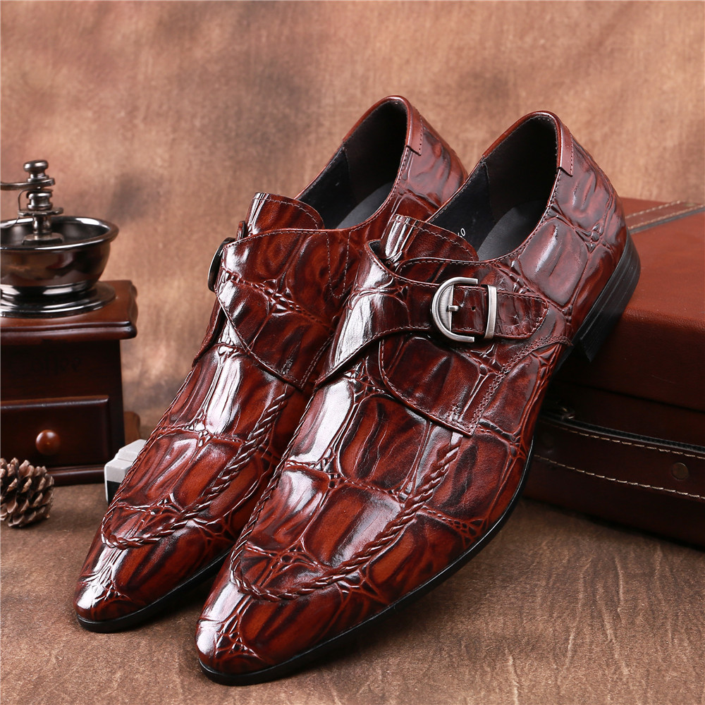 Crocodile Grain brown tan / black mens dress shoes genuine leather wedding shoes casual mens business shoes with buckle crocodile grain brown tan black mens dress shoes genuine leather wedding shoes casual mens business shoes with buckle