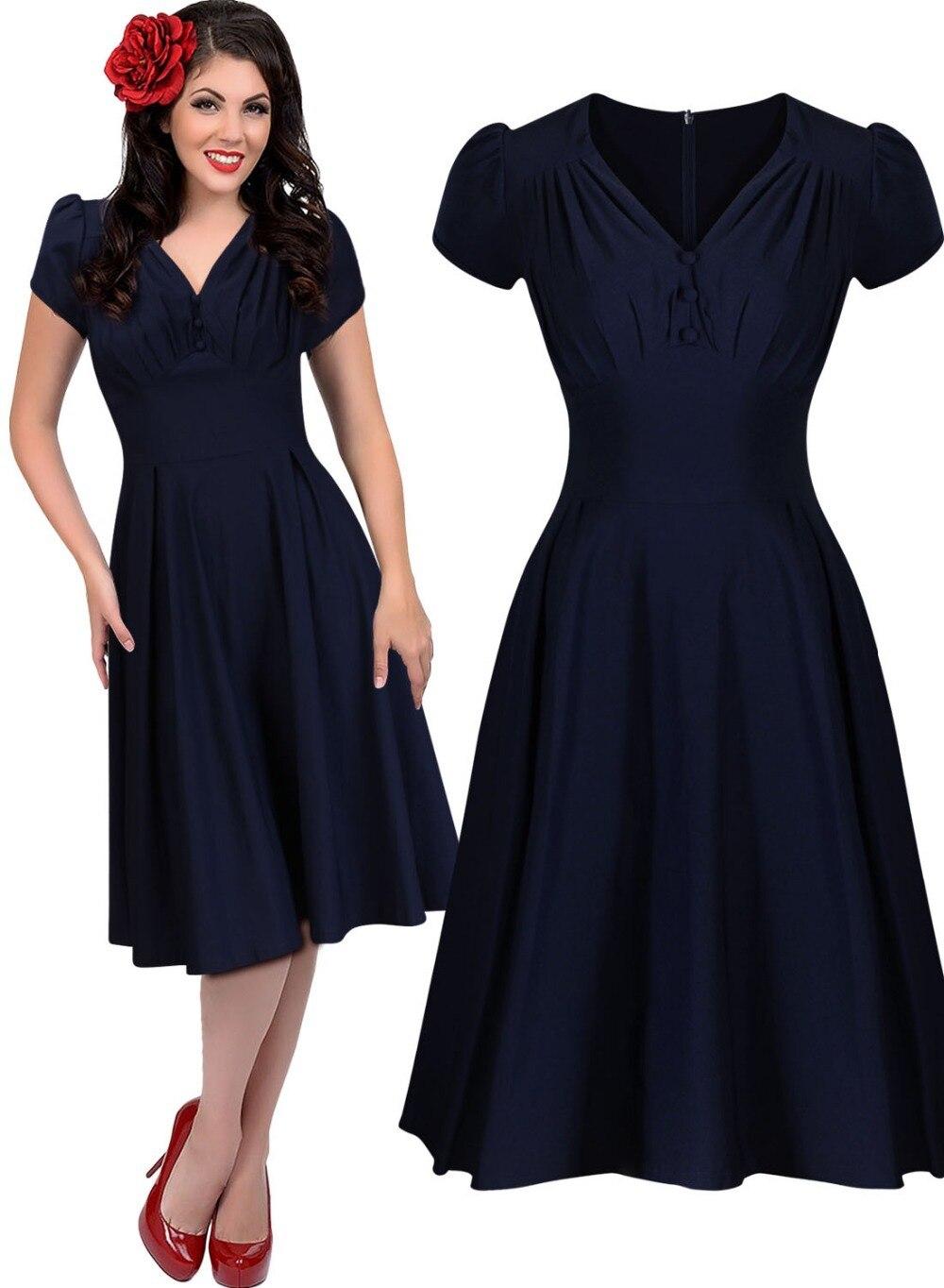 Black dress 50s style neck