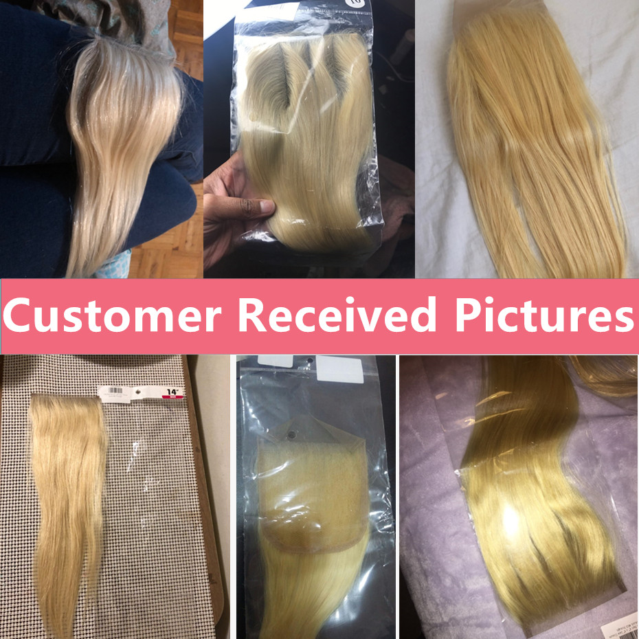 bling-hair-Blonde-613-Brazilian-Straight-Human-Hair-Closure-4-4-Free-middle-three-Part-Non