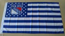 new york ranger with Stripes And Stars Flag 150X90CM  NHL  3X5 FT Banner 100D Polyester flag grommets 009, free shipping