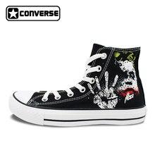 Sneakers Men Women Converse All Star Joker Design Custom Hand Painted Shoes Boys Girls Black Canvas