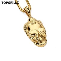 Hot Money Stainless Steel Skeleton Man Head Popular Logo Necklace Pendant HIPHOP Hip Hop Dance Act