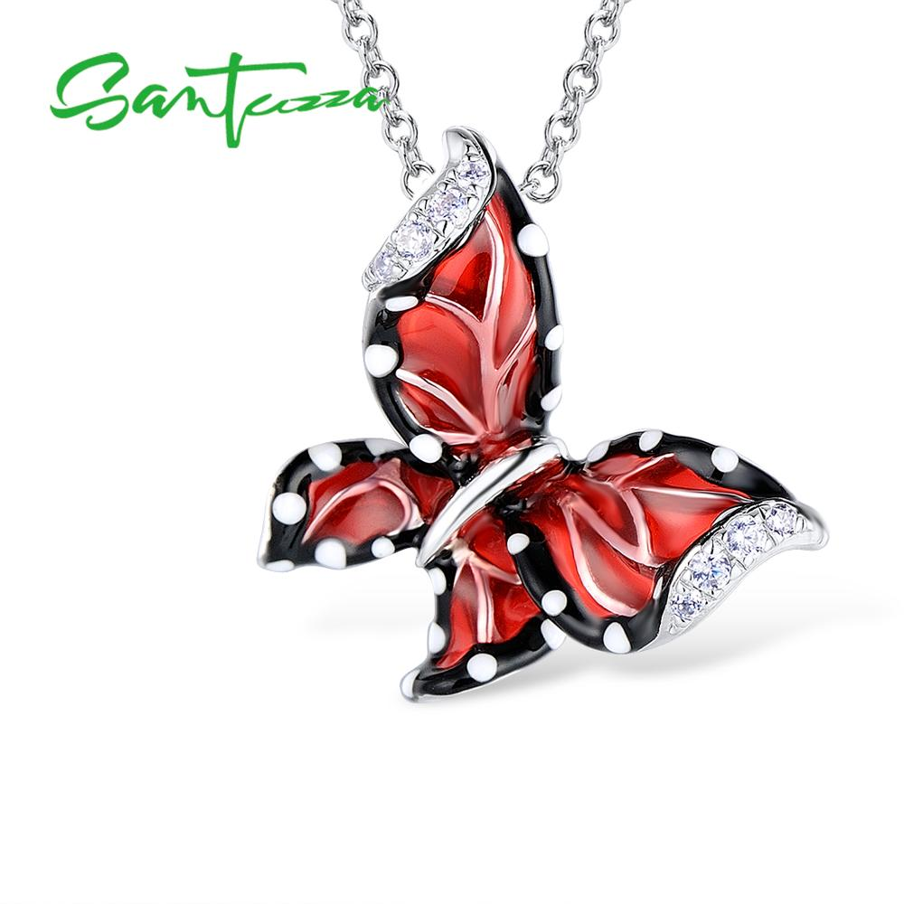 Image 2 - SANTUZZA Red Butterfly Jewelry Set For Woman White CZ Ring Earrings Pendant 925 Sterling Silver Fashion Jewelry HANDMADE Enamel-in Jewelry Sets from Jewelry & Accessories