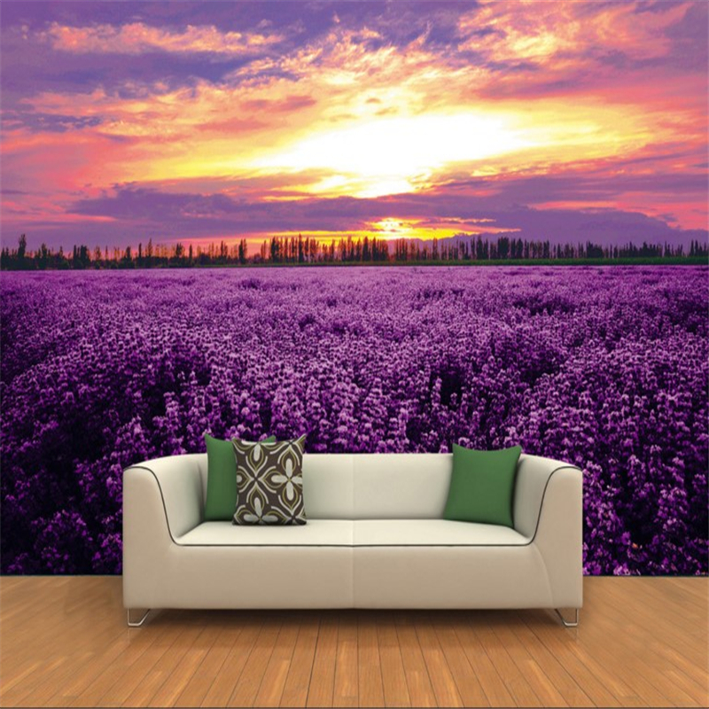 Can Be Customized Large Scale Mural 3d Wallpaper Wall: Beibehang Large Scale Custom Wallpaper Lavender Flowers 3D