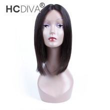 [HCDIVA] 130% Density Straight U Part Lace Front Human Hair Wigs For Black Women Brazilian Non Remy Hair Wig Natural Black Color