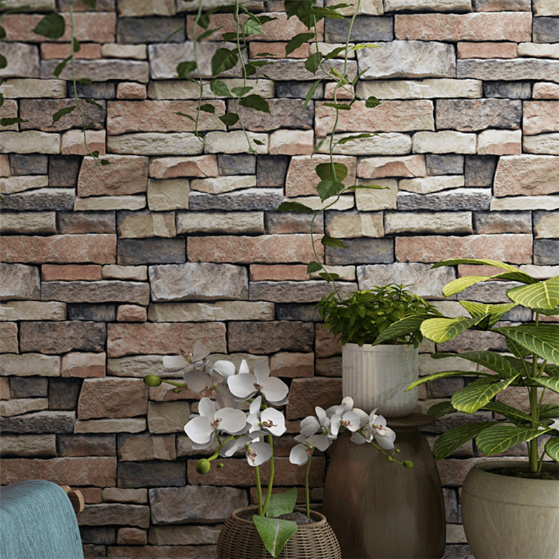 Vintage 3D Embossed Brick Wallpaper Living Room Bar Cafe