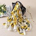 Lemon mulheres manta lenço de seda de luxo lenços foulard bandana feminino grande longo xale moda brand new [1619]