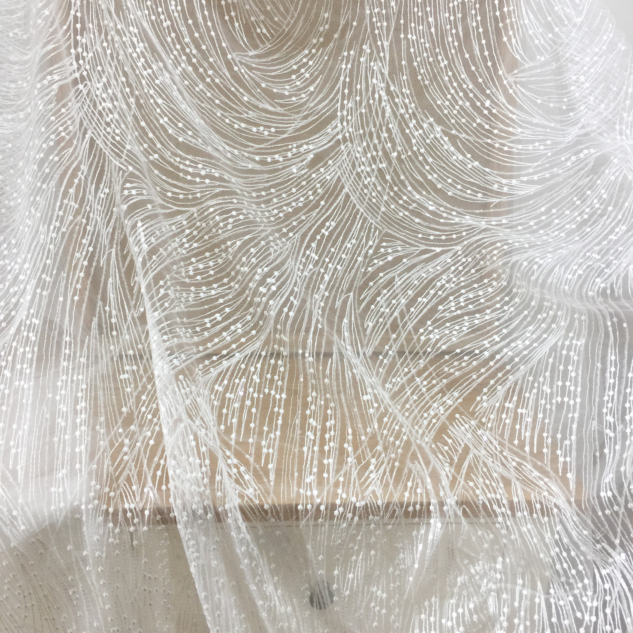 1 Yard Geometric Embroidery Lace Fabric By Yard With TRANSLUCENT Sequins , Birdal Gown Couture Fabric In Off White