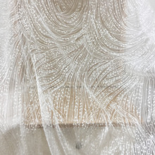 1 Yard Geometric Embroidery Lace Fabric by with TRANSLUCENT Sequins , Birdal Gown Couture in Off White