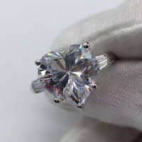 Choucong Brand Jewelry Luxury Pure 925 Sterling Silver 3CT Heart Zirconia Engagement Wedding Rings for Women Size 5,6,7,8,9