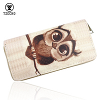 Hot Womens Organizer Wallets Maney Clip Leather Print 3D Owl Long Ladies Purses With Zipper Coin