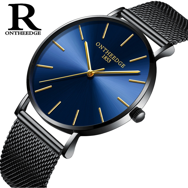 ONTHEEDGE Men Watches Ultra Thin Luxury Man Casual Waterproof Watch Man Quartz-Watch with Braided Steel Watchband шина bridgestone ice cruiser 7000 225 65 r17 106t xl зима ш