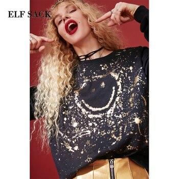 ELF ÇUVAL Yeni Moda Sweatshirt Kadın O-Boyun Baskı Rahat Kazak Kadın Hoodies Tam Boy Femme Sweatshirt Kadın Tops