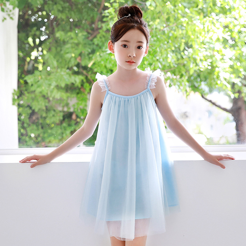 Girls Sling Dress Summer New Korean Style Blue Mesh Cotton O-neck Sleeveless Dress Big Girl Travel Holiday Dress Cute SimpleGirls Sling Dress Summer New Korean Style Blue Mesh Cotton O-neck Sleeveless Dress Big Girl Travel Holiday Dress Cute Simple