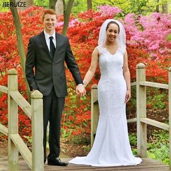 JIERUIZE White Vintage Lace Mermaid Wedding Dresses Beading 2018 Boho Bridal Dress Beach Wedding Gowns robe de soiree