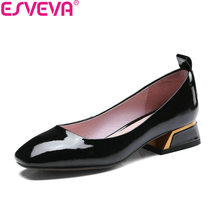ESVEVA 2018 Women Pumps Cow Leather PU Elegant Shoes Square Med Heels Square Toe Classic Ladies Pumps Slip on Shoes Size 34-43 2017 shoes women med heels tassel slip on women pumps solid round toe high quality loafers preppy style lady casual shoes 17
