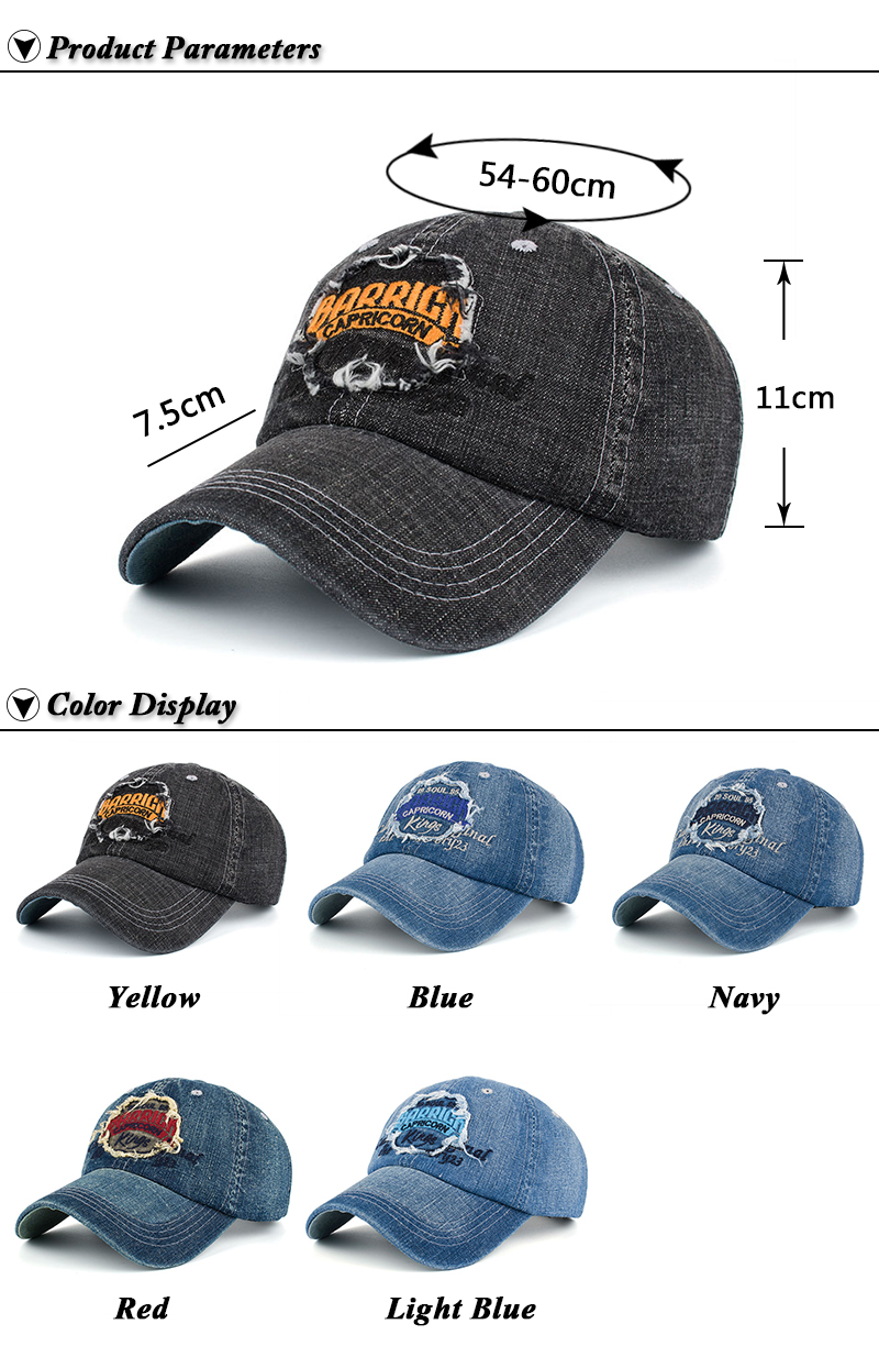 """Embroidered """"Capricorn"""" Baseball Cap - Product Parameters and Available Color Options"""